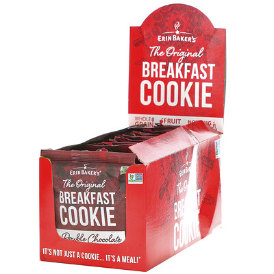 Erin Baker's The Original Breakfast Cookie, Double Chocolate Chunk, 12 Cookies, 3 oz (85 g) Each