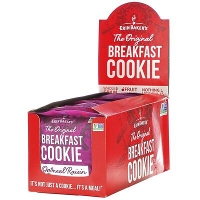 Купить Erin Baker's The Original Breakfast Cookie, Oatmeal Raisin, 12 Cookies, 3 oz (85 g) Each