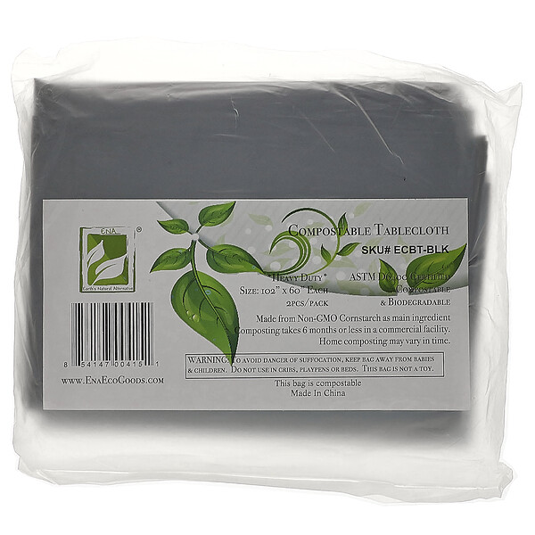 Compostable Tablecloth, Black, 2 Pack