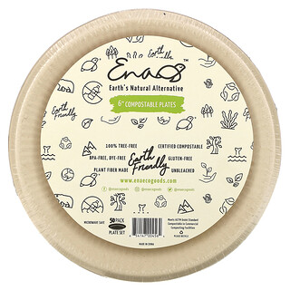 """Earth's Natural Alternative, 6"""" Compostable Plates, 50 Pack"""