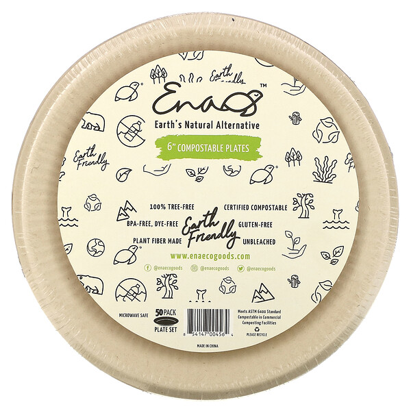 """6"""" Compostable Plates, 50 Pack"""