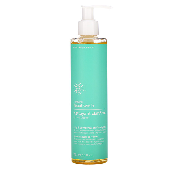 Earth Science, Clarifying Facial Wash, Oily & Combination Skin Types, 8 fl oz (237 ml)