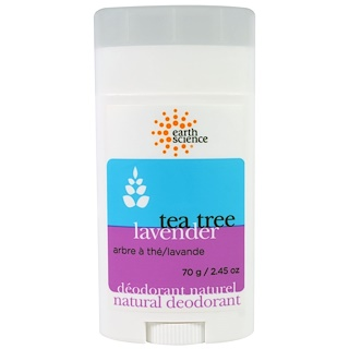 Earth Science, Natural Deodorant, Tea Tree, Lavender, 2.45 oz (70 g)