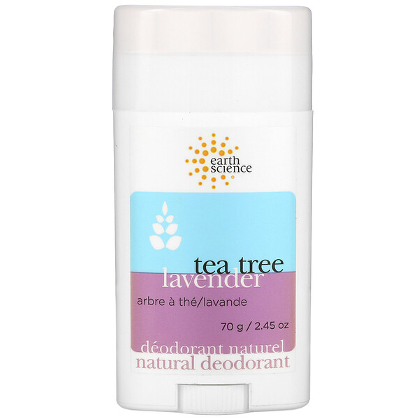 Earth Science, Natural Deodorant, Tea Tree, Lavender, 2.45 oz (70 g)