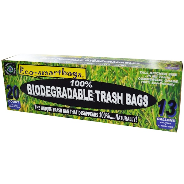 "Eco-Smartbags, 100% Biodegradable Trash Bags, 20 Count, 13 Gallons, 24"" x 29"" (61 cm x 74 cm) Each (Discontinued Item)"