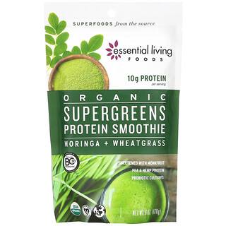 Essential Living Foods, Organic Supergreens Protein Smoothie, 6 oz (170 g)