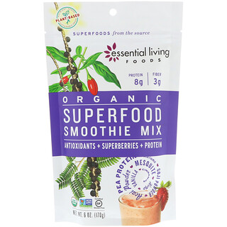 Essential Living Foods, Organic, Superfood Smoothie Mix, Antioxidants + Superberries + Protein, 6 oz (170 g)