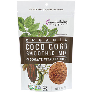Essential Living Foods, Organic, Coco Gogo Smoothie Mix, Chocolate Vitality Boost, 6 oz (170 g)