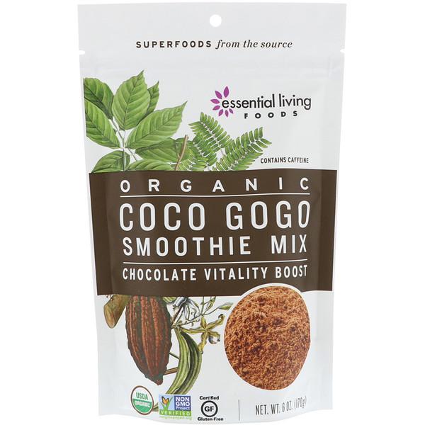 Essential Living Foods, عضوي، مخلوط عصير كوكو جوجو، دفعة الحيوية بالشوكولاته، 6 أوقية (170 غرام) (Discontinued Item)