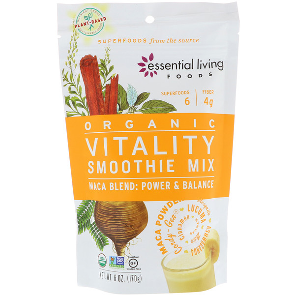 Essential Living Foods, Organic, Vitality Smoothie Mix, Maca Blend, Power & Balance, 6 oz (170 g)