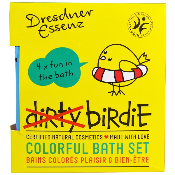 European Soaps, Dresdner Essenz, Dirty Birdie Colorful Bath Set, Bath Salt, 4 Packs, 1.76 oz (50 g) Each (Discontinued Item)