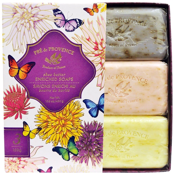 European Soaps, Pre de Provence, Butterfly Soap Gift Set, 3 Soaps, 5.2 oz (150 g) Each (Discontinued Item)