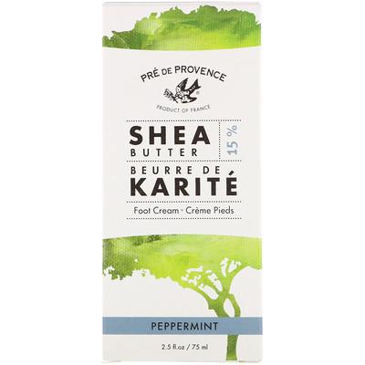 Купить European Soaps Pre de Provence, Shea Butter Foot Cream, Peppermint, 2.5 fl oz (75 ml)
