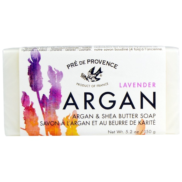European Soaps, Pre De Provence, Argan & Shea Butter Soap, Lavender, 5.2 oz (150 g) (Discontinued Item)