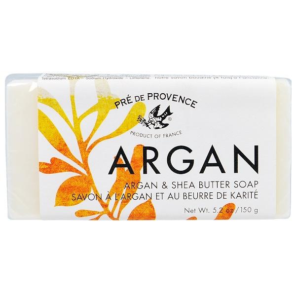 European Soaps, Pre de Provece, Argan & Shea Butter Soap Bar, 5.2 oz (150 g) (Discontinued Item)