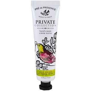 European Soaps, LLC, Pre de Provence, Private Collection, Hand Cream, Wild Celery & Tonka Bean, 2.3 fl oz (70 ml)