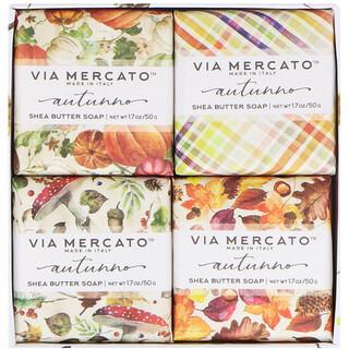 European Soaps, LLC, Via Mercato, Autumno, Shea Butter Soaps Set, 4 Soaps, 50 g Each