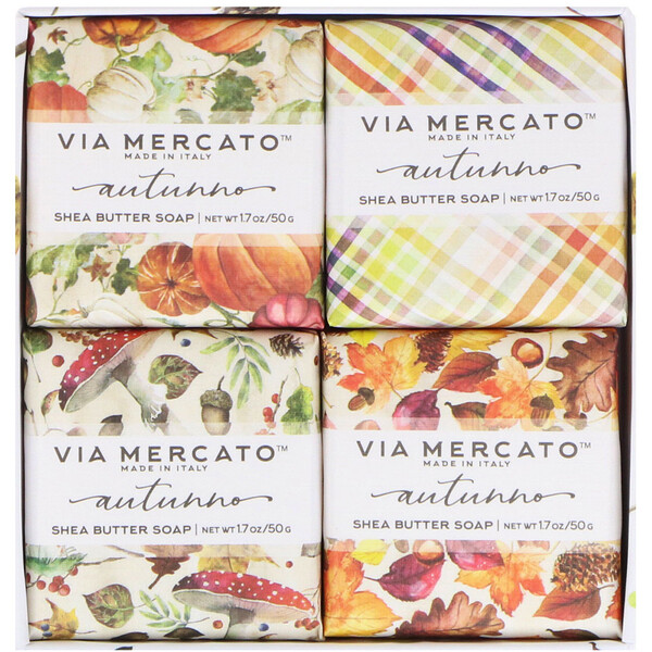 Via Mercato, Autumno, Shea Butter Soaps Set, 4 Soaps, 50 g Each