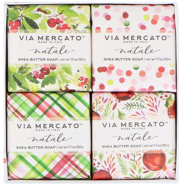 European Soaps, Via Mercato, Natale, Shea Butter Soaps Set, 4 Soaps, 50 g Each