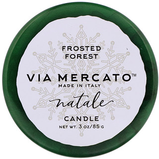 European Soaps, LLC, Via Mercato, Natale, Candle, Frosted Forest, 3 oz (85 g)