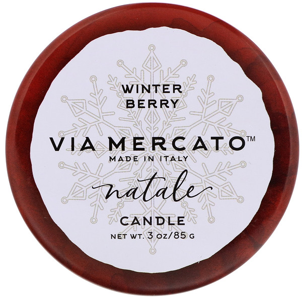 European Soaps, Via Mercato, Natale, Candle, Winter Berry, 3 oz (85 g) (Discontinued Item)