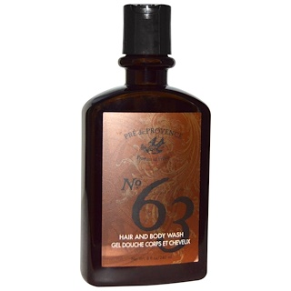 European Soaps, LLC, Pre De Provence, No.63, Men's Hair and Body Wash, 8 fl oz (240 ml)