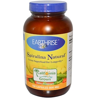 Earthrise, Spirulina Natural, 600 mg, 150 Capsules