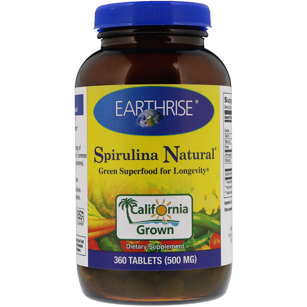 Earthrise, Spirulina Natural, 500 mg, 360 Tablets