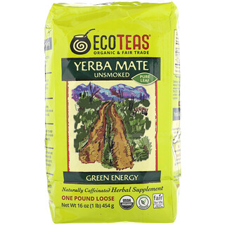 Eco Teas, Yerba Mate Pure Leaf Loose Tea, Green Energy, Unsmoked, 16 oz (454 g)