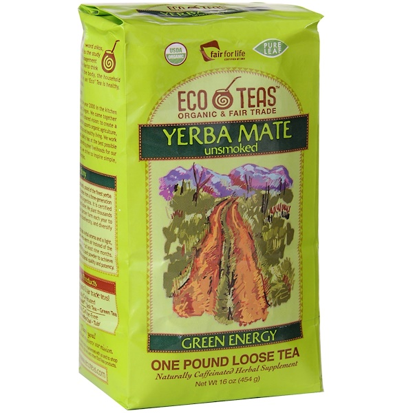 Eco Teas, Рассыпной чай «Чистый Йерба Мате», зеленая энергия, некопченый, 16 унций (454 г)