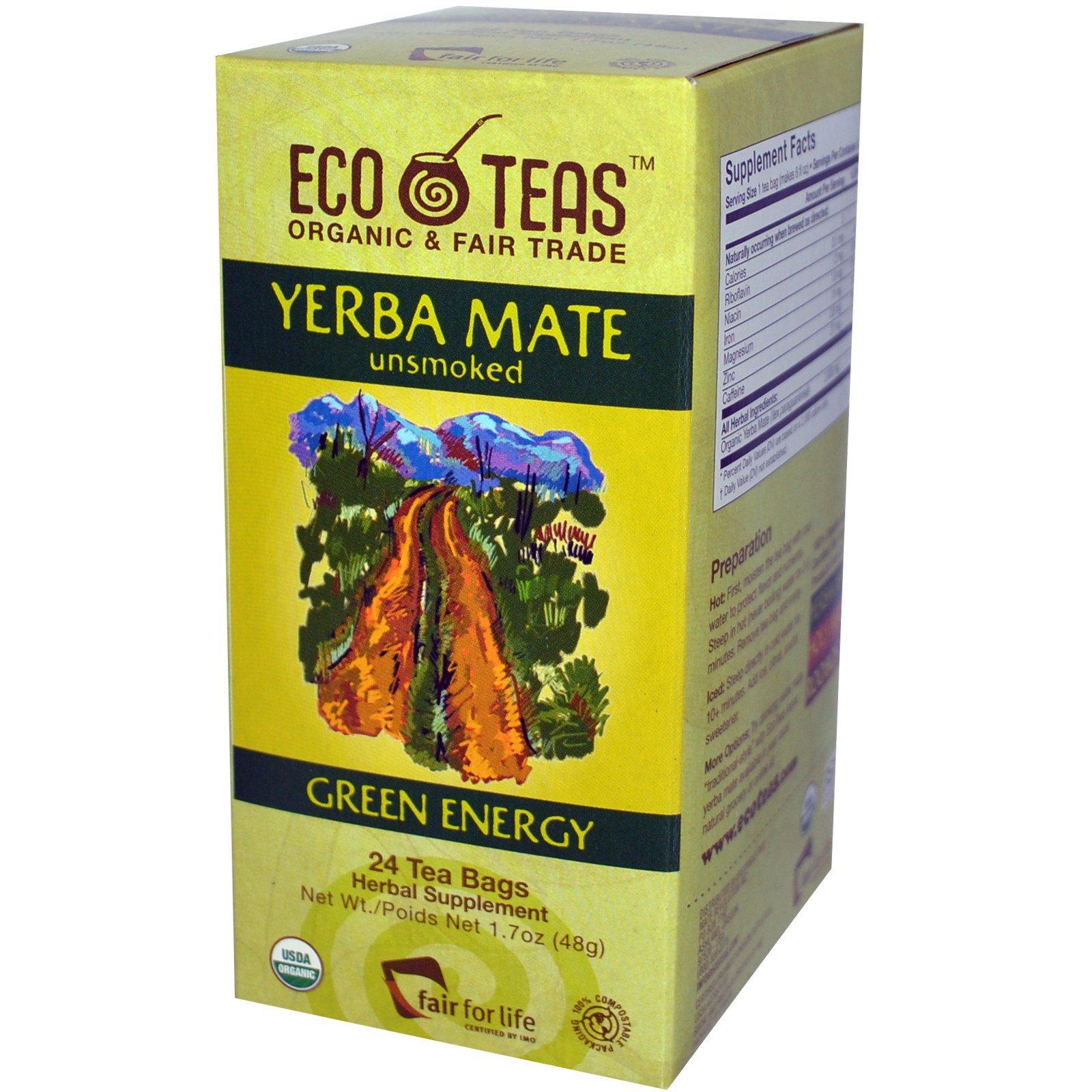 Eco Teas, Йерба Мате, некопченый, зеленая энергия, 24 пакетика, 1,7 унции (48 г)