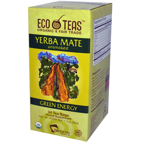 Eco Teas, Yerba Mate, Unsmoked, Green Energy, 24 Tea Bags, 1.7 oz (48 g) (Discontinued Item)