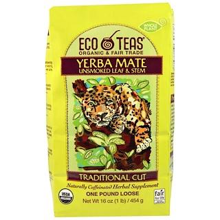 Eco Teas, Yerba Mate، أوراق وجذوع غير مدخنة، 16 أونصة (445 غ)