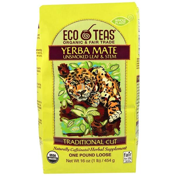 Eco Teas, Yerba Mate، أوراق وجذوع غير مدخنة، 16 أونصة (445 غ) (Discontinued Item)