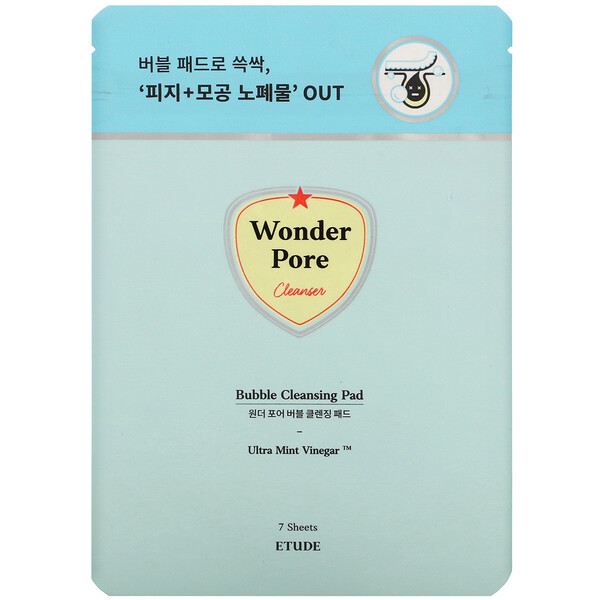 Etude House, Wonder Pore, Bubble Cleansing Pad, 7 Sheets