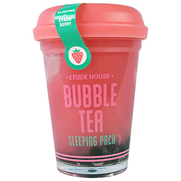 Etude House, Bubble Tea Sleeping Pack, Strawberry, 3.5 oz (100 g) (Discontinued Item)