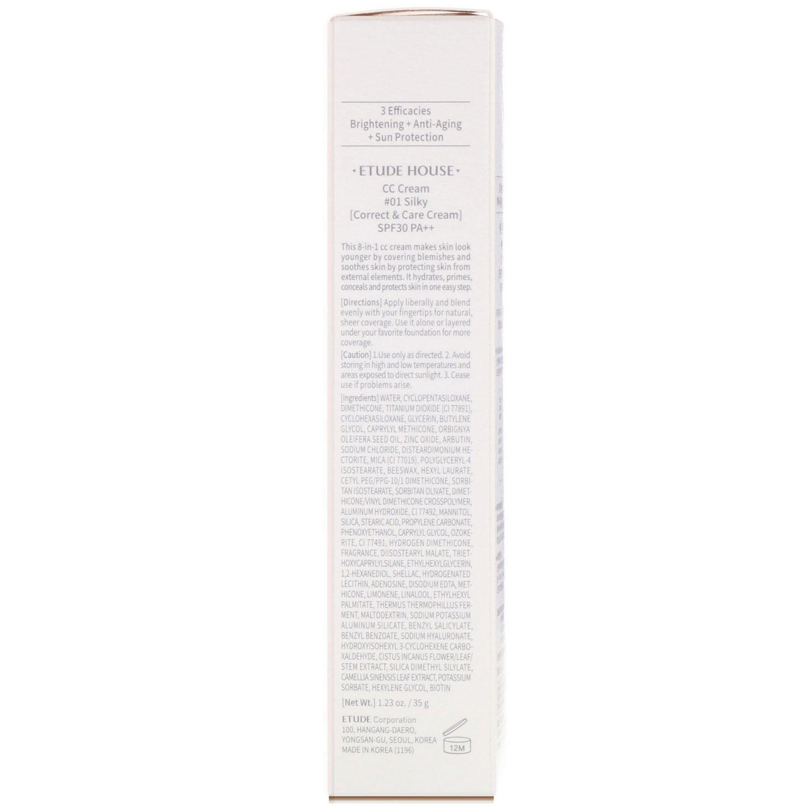 Etude House, Correct & Care CC Cream SPF 30/PA++, Silky, 1 23 oz (35 g)