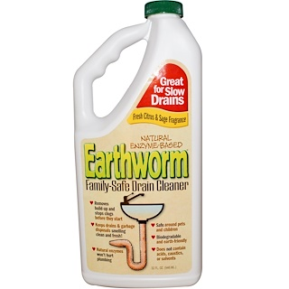 Earthworm, Family-Safe Drain Cleaner, Fresh Citrus & Sage Fragrance, 32 fl oz (946 ml)