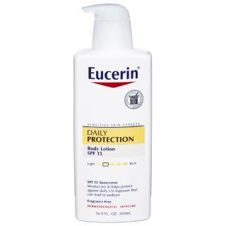 Eucerin, Lotion, Daily Hydration, Dry Skin, SPF 15 Suncreen, Fragrance Free, 16.9 fl oz (500 ml)