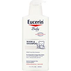 Eucerin, Baby, Wash & Shampoo, Fragrance Free, 13.5 fl oz (400 ml)