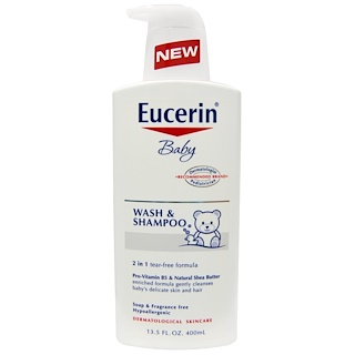 Eucerin, Baby, Wash & Shampoo, Fragrance Free, 13.5 fl oz (400 ml)