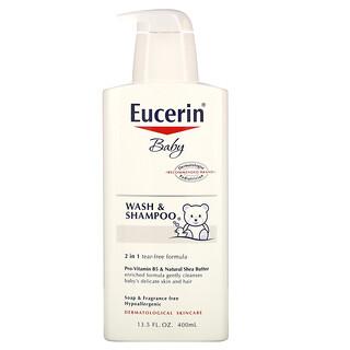 Eucerin, 身体洗いとシャンプー, 無香, 400 ml