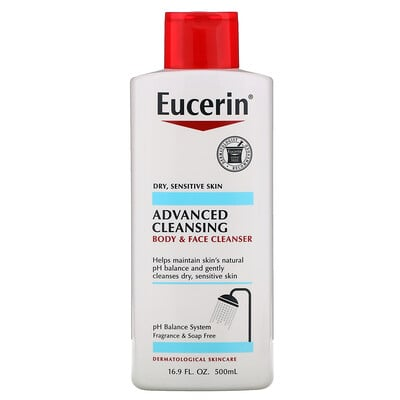 Eucerin Advanced Cleansing, Body and Face Cleanser, Fragrance Free, 16.9 fl oz (500 ml)