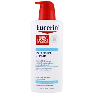 Eucerin, Intensive Repair, Rich Feel Lotion, Fragrance Free, 16.9 fl oz (500 ml)