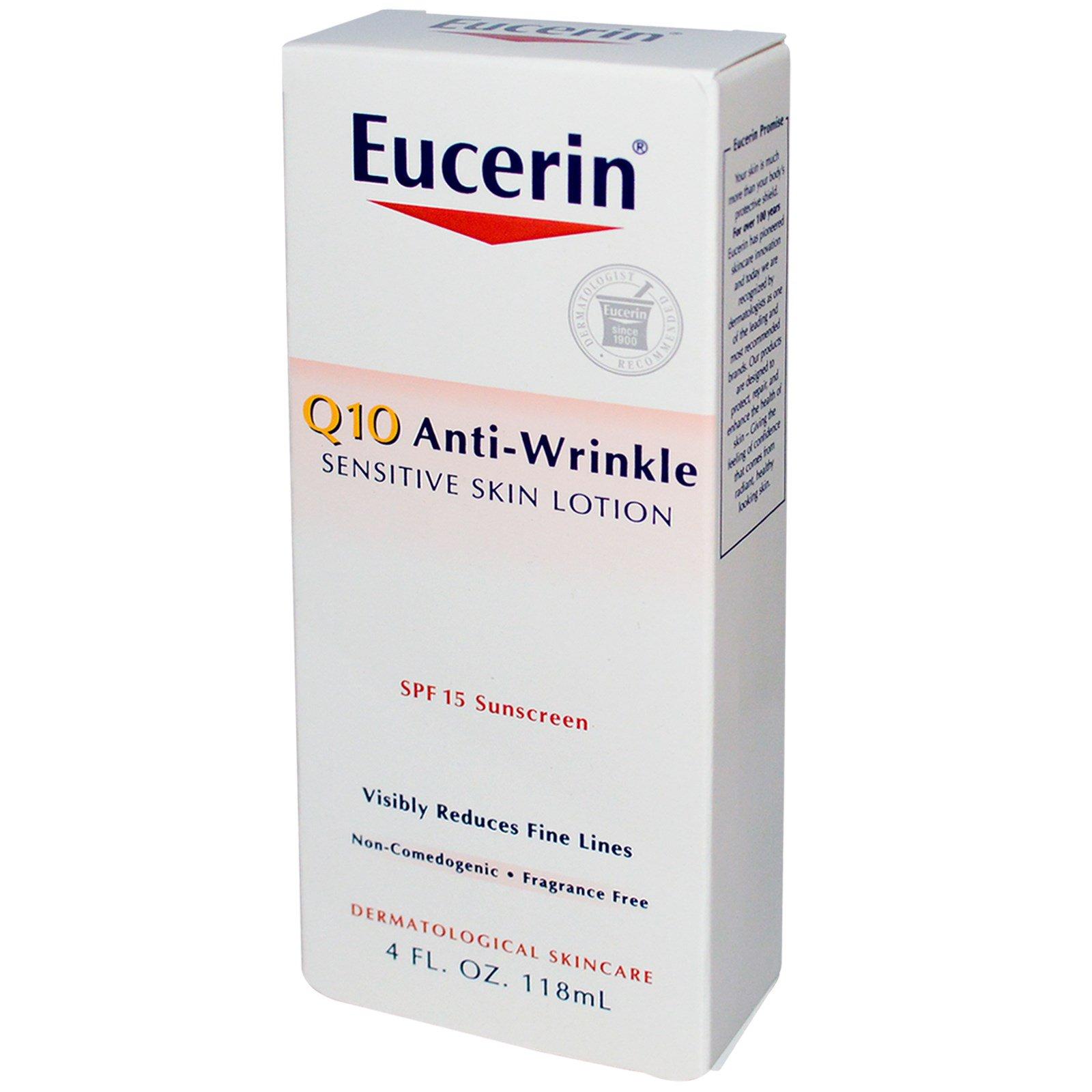 Eucerin Q10 Anti-Wrinkle Sensitive Skin Lotion SPF 15 4 oz (118 ml) package of 2 Its Skin Babyface Aqua Gel Tint 03 10 ml