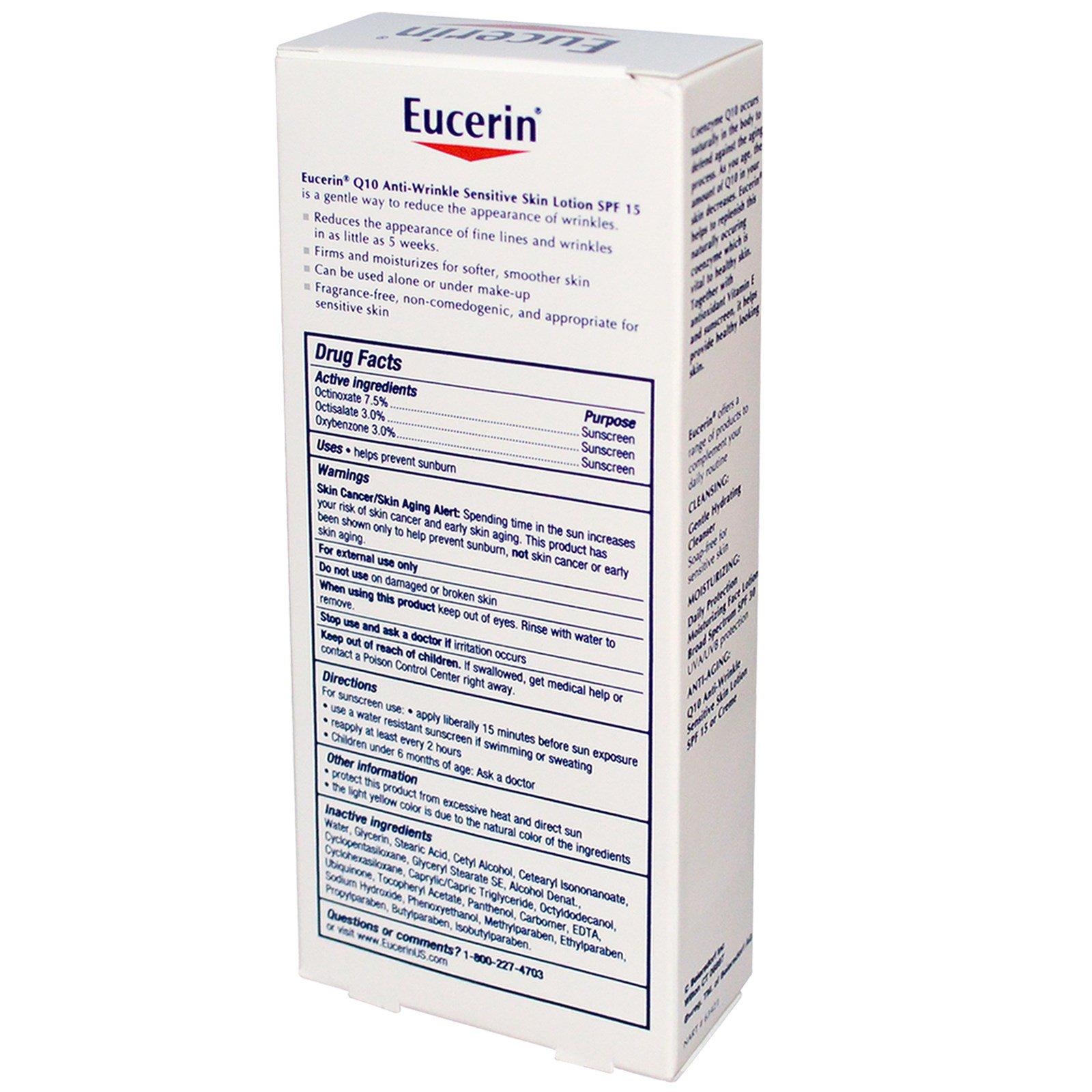 Eucerin, Q10 Anti-Wrinkle Sensitive Skin Lotion, SPF 15 Sunscreen, 4