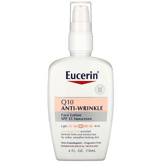 Eucerin, Q10 Anti-Wrinkle Sensitive Skin Lotion, SPF 15 Sunscreen, 4 fl oz (118 ml)