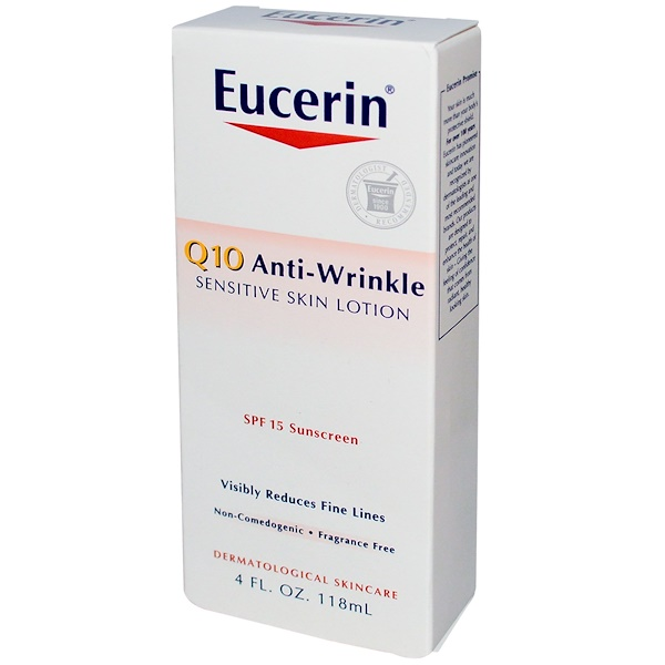 Eucerin, Q10 Anti-Wrinkle Sensitive Skin Lotion, SPF 15 Sunscreen, 4 fl oz (118 ml)