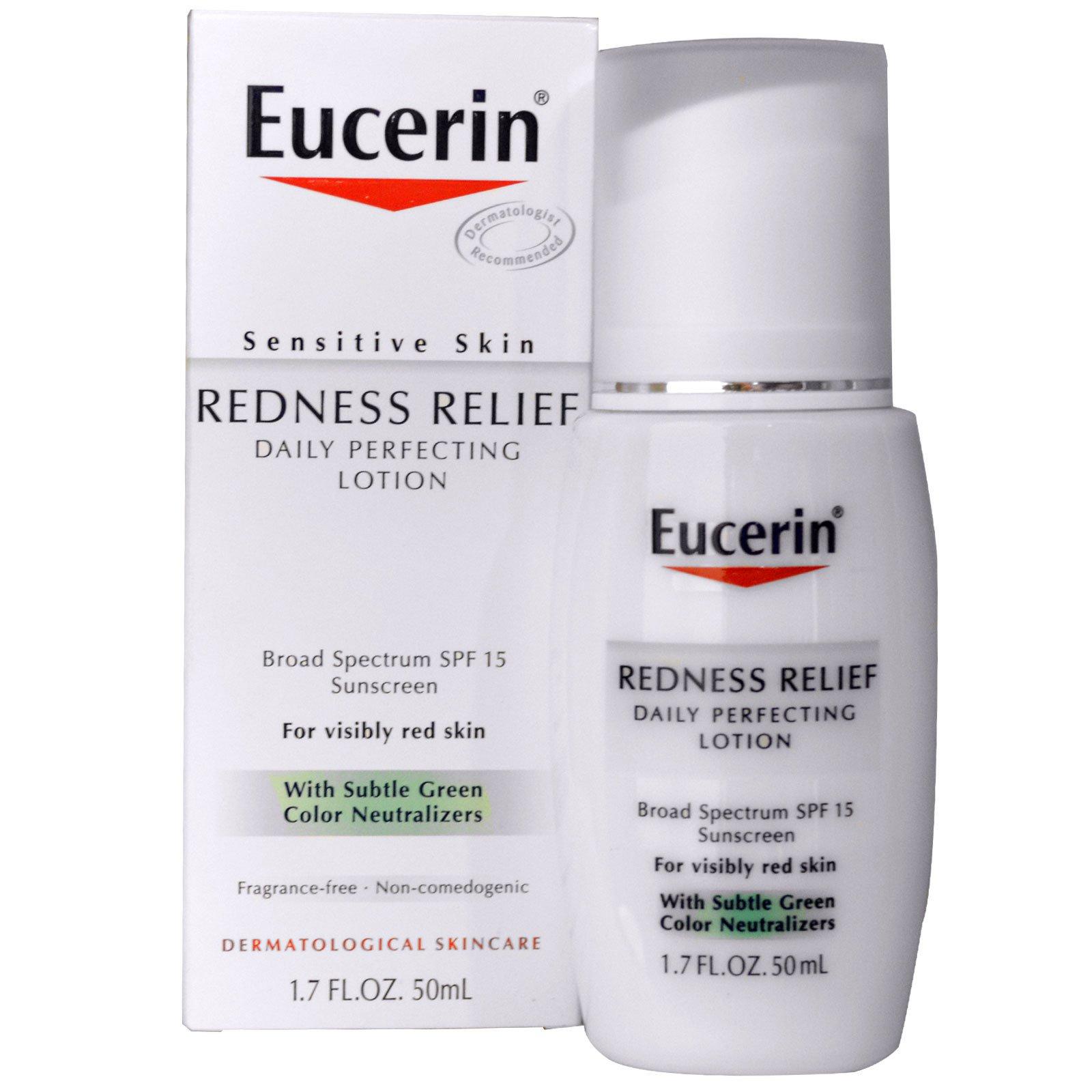 """Eucerin, """"Избавление от покраснения"""", ежедневный улучшающий лосьон с SPF 15, без запаха, 1.7 жидких унций (50 мл)"""