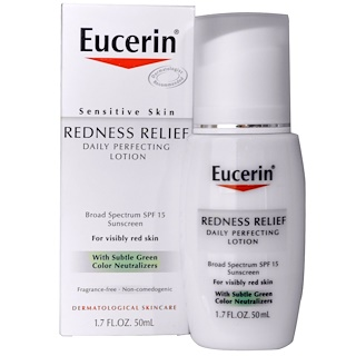 Eucerin, Redness Relief, Daily Perfecting Lotion SPF 15, Fragrance Free, 1.7 fl oz (50 ml)